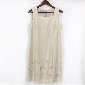Laura Ashley Embroidered Linen Dress EUC